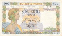 France 500 Francs Pax with wreath - 02-01-1942 Serial U.4284.278 - VF+