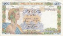 France 500 Francs Pax with wreath - 02-10-1941 Serial Z.3710 - VF
