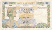 France 500 Francs Pax with wreath - 03-09-1942 Serial L.6638 - F to VF