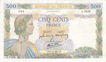 France 500 Francs Pax with wreath - 05-11-1942 Serial L.7428 - VF