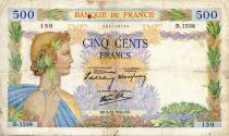 France 500 Francs Pax with wreath - 05-12-1940 - Serial D.1538 - F