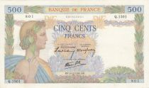 France 500 Francs Pax with wreath - 05-12-1940 Serial Q.1501 - VF+