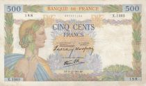France 500 Francs Pax with wreath - 05-12-1940 Serial X.1503 - VF