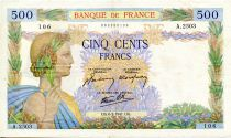 France 500 Francs Pax with wreath - 06-02-1941 - Serial A.2503 - VF
