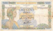 France 500 Francs Pax with wreath - 06-02-1941 Serial A.2407 - F