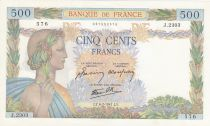 France 500 Francs Pax with wreath - 06-02-1941 Serial J.2303 - aUNC