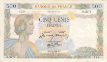 France 500 Francs Pax with wreath - 06-02-1941 Serial K.2279 - F+