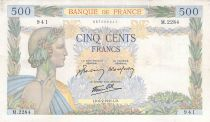 France 500 Francs Pax with wreath - 06-02-1941 Serial K.2284 - F to VF