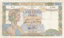 France 500 Francs Pax with wreath - 06-02-1941 Serial V.2316