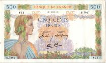 France 500 Francs Pax with wreath - 06-04-1944 Serial U.7967-871