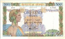 France 500 Francs Pax with wreath - 07-01-1943 Serial U.7734-043