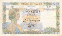 France 500 Francs Pax with wreath - 08-05-1941 Serial R.2901 - VF