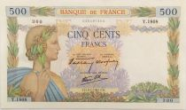 France 500 Francs Pax with wreath - 09-01-1941 Serial Y.1808 - VF+