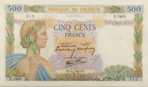 France 500 Francs Pax with wreath - 09-01-1941 Serial Z.1805 - VF+