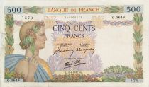 France 500 Francs Pax with wreath - 09-04-1942 - Serial G.5649 - G