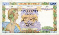 France 500 Francs Pax with wreath - 09-04-1942 - Serial Z.5464 - VF