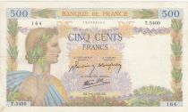 France 500 Francs Pax with wreath - 09-04-1942 Serial T.5400 - VF