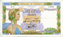 France 500 Francs Pax with wreath - 09-07-1942 - Serial F.6164 - VF