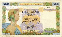 France 500 Francs Pax with wreath - 11-06-1941 - Serial R.3084 - F+