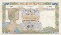 France 500 Francs Pax with wreath - 11-06-1941 Serial V.3068 - VF