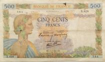 France 500 Francs Pax with wreath - 11-07-1940 Serial X.628 - F