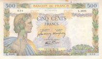 France 500 Francs Pax with wreath - 12-02-1942 Serial L.4696-634 - VF