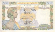 France 500 Francs Pax with wreath - 12-02-1942 Serial L.4696-638 - XF