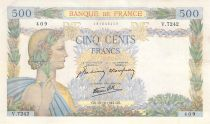 France 500 Francs Pax with wreath - 15-10-1942 Serial V.7242 - VF