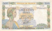 France 500 Francs Pax with wreath - 15-10-1942 Serial V.7248 - VF