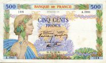 France 500 Francs Pax with wreath - 16-01-1941 - Serial A.1931 - VF