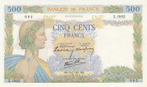 France 500 Francs Pax with wreath - 16-01-1941 Serial Z.1932