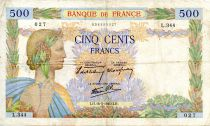 France 500 Francs Pax with wreath - 16-05-1940 - Serial L.344 - F+
