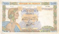 France 500 Francs Pax with wreath - 16-05-1940 Serial D.189 - F to VF