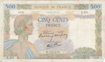 France 500 Francs Pax with wreath - 16-05-1940 Serial E.371 - VG to F