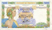 France 500 Francs Pax with wreath - 17-10-1940 - Serial R.1147 - F