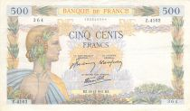 France 500 Francs Pax with wreath - 18-12-1941 Serial Z.4102 - VF+