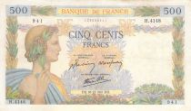 France 500 Francs Pax with wreath - 18-12-1941 Serial Z.4148 - VF