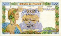 France 500 Francs Pax with wreath - 19-12-1940 - Serial R.1695 - VF