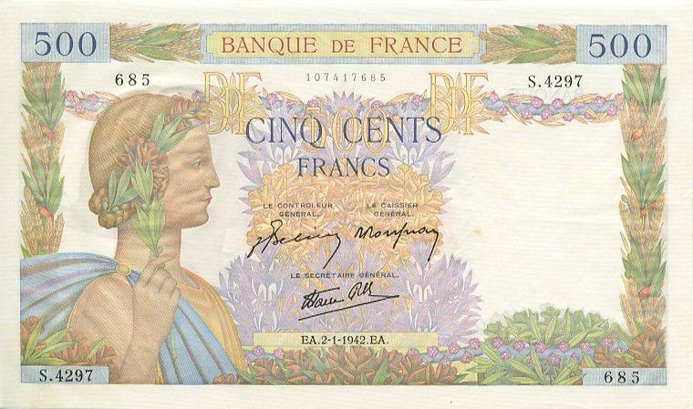 France 500 Francs Pax with wreath - 1942