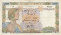 France 500 Francs Pax with wreath - 1944-04-06 - serial O.8065  scarce date
