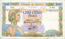 France 500 Francs Pax with wreath - 20-06-1940 - Serial X.476 - F to VF