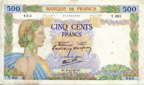 France 500 Francs Pax with wreath - 20-06-1940 - Serial Y.501 - F+