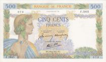 France 500 Francs Pax with wreath - 20-06-1942 Serial F.5935
