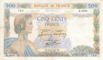 France 500 Francs Pax with wreath - 20-11-1941 Serial K.3989 - VF