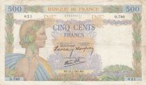 France 500 Francs Pax with wreath - 25-07-1940 Serial O.780 - F+