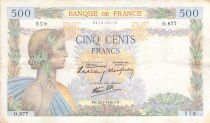 France 500 Francs Pax with wreath - 25-07-1940 Serial O.877 - VF