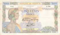 France 500 Francs Pax with wreath - 25-07-1940 Serial X.760 - F