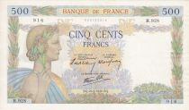 France 500 Francs Pax with wreath - 26-09-1940 Serial H.928