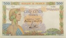 France 500 Francs Pax with wreath - 26-09-1940 Serial Y.953 - XF