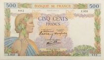 France 500 Francs Pax with wreath - 26-09-1940 Serial Z.953 - XF